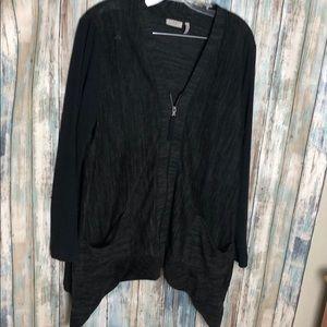LOGO Lori Goldstein Zip Up Sweater